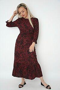 New Womens Burgundy+Cerise & Black Animal Print Slit Back Midi Dress Size 8-12