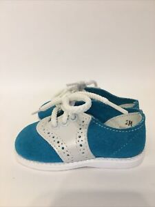 Vintage Baby Shoes Blue Suede Saddle Shoes Size 2 Turquoise Action Kids  NEW