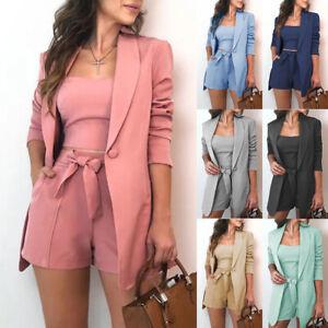 Womens Blazer Suit Vest Shorts Jacket Coat Outfits Office Ladies Work 3Pcs Set
