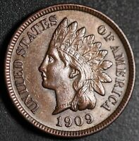 1909 INDIAN HEAD CENT - With LIBERTY & 4 DIAMONDS - AU UNC