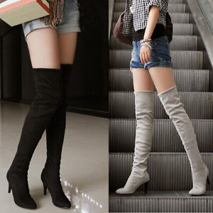 Women Over The Knee High Boots Thin High Heel Pointed Toe Suede Women Long Boots