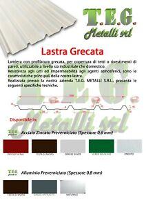 LAMIERE GRECATE IN ACCIAIO 6/10 PER COPERTURA TETTO /PREFABBRICATI LARGHEZZA 1MT