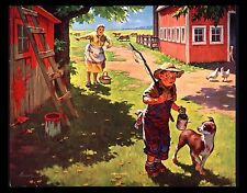 "VINTAGE 1950""S ""GOING FISHING"" CUTE BOY BARN PAINTING CHORE CALENDAR ART PRINT"