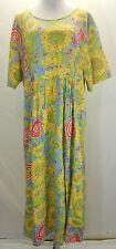 We Be Bop Floral Sunflower Print Long Shift Dress 2X Yellow Blue Short Sleeves