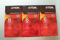TDK Premium Quality HS Blank VHS Tape 6 Hours T-120 New Sealed Lot of 3 Tapes
