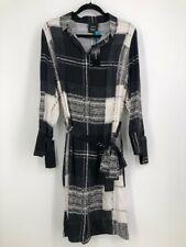 AKRIS sz 14 silk long sleeve plaid dress