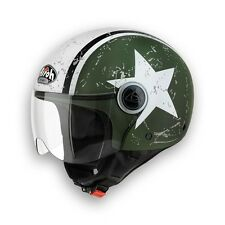 CASCO HELMET DEMI-JET COMPACT SHIELD GREEN MATT AIROH TG XS