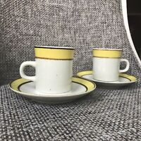 4 piece Cup & Saucer Sets - Rainbow Stoneware 659 Citron Made in Japan EUC