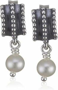AUTHENTIC PANDORA SILVER AND WHITE PEARL BRAIDED DROP EARRINGS 290286P