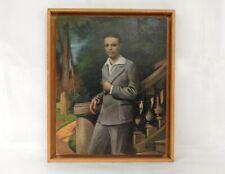 HSP portrait jeune homme élégant fils Victor Dupont jardin XXème siècle