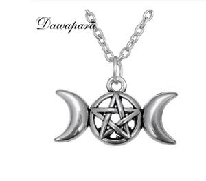 amuleto pentagrama con dos lunas proteccion aleación de Zinc vintage