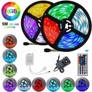 LED Strip Lights 5M 10M 15M RGB Color Changing Tape Cabinet Kitchen TV Lighting