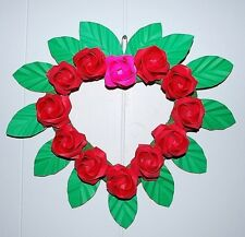 "12"" floral Heart Wreath Red Origami Roses Love Heart Wedding holiday gift decor"
