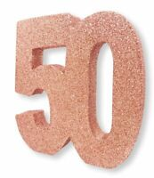 "Rose Gold Glitter Table Decoration 50 Years 8"" x 8"" Ladies 50th Birthday Party"