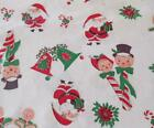 Vintage Christmas Fabric Tablecloth Santa Candy Canes Cotton 2 Yards