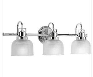 Progress Lighting P2992-15 Archie 3-Light Polished Chrome Bathroom Vanity Light