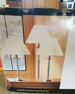 New NIB 3 Pc LAMP Set brushed nickel JCP studio 2 table 1 floor white shade