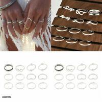12 Pcs/set Silver Midi Finger Ring Set Vintage Punk Boho Knuckle Rings Jewelry