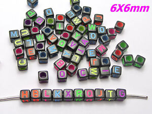 2500 Black with Neon Color Assorted Alphabet Letter Cube Pony Beads 6X6mm