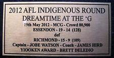 ESSENDON Indigenous Round 2012 Gold Plaque Free Post