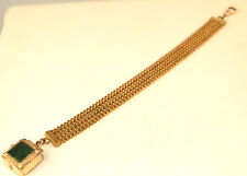 ANTIQUE GOLD FILLED WATCH CHAIN WITH BLOODSTONE LOCKET FOB CHARM