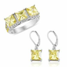 CANARY YELLOW SIMULATED DIAMOND & YELLOW WHITE AUSTRIAN CRYSTAL SQUARE RING 7