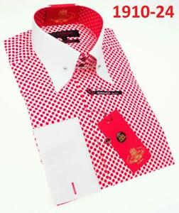 Men AXXESS Soft Cotton Shirt Pointed Collar Long Sleeves Polka Dot Red/White