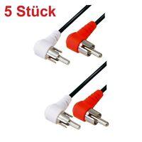 1m Chinchkabel Stereo Cinch Cynch RCA Kabel 2x Chinch gewinkelte 90° Stecker