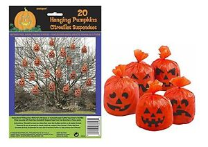 Pumpkin Leaf Bags Hanging Pack of 20 Decorations Outdoor Indoor Halloween Party
