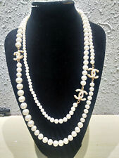 Chanel Anniversary Classic 3CC Logo Pearls double chain Long Necklace