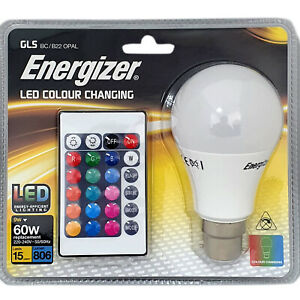 1x Energizer Colour Changing Light Bulb B22 GLS LED RGB+W with Remote Control
