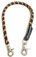 Biker chain Black Orange braided leather Heavy Duty Trucker wallets made in USA