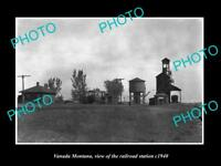 OLD LARGE HISTORIC PHOTO OF VANADA MONTANA, THE RAILROAD DEPOT STATION c1940