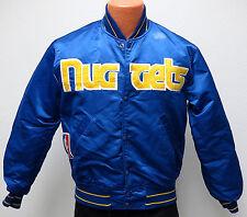 vtg DENVER NUGGETS Starter Satin Jacket S/M 80s nba throwback blue DISTRESS