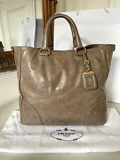100% Authentic Prada Vitello Shine Grey Leather Tote Shoulder Bag £1,010