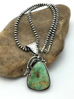 "Navajo Sterling Silver Green Turquoise Beads Necklace Pendant 3.3"" 4275"