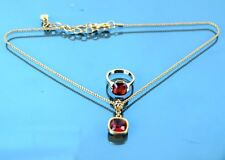 100% AUTH SWAROVSKI GOLD TONE CHAIN NECKLACE & FINGER RING SET W/ RUBY PENDANT