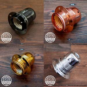 Vintage metal pendant lamp holder #1 Edison light retro style E27 4 finishes