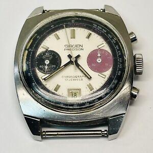 Vintage Gruen Precision Chronograph 17J Very Rare 1960s Working Diver Style