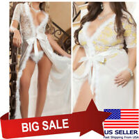 White Sheer Floral Lace Gown Dress Chemise Nightie Lingerie Babydoll Teddy M-5XL
