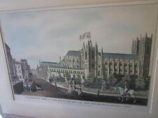 RARE Antique English Hand Colored Print Pub 1822 RH LAURIE Westminster Abbey+sqr