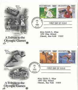 1990 Olympic set on 3 ArtCraft covers S#2496-2500 addressed and unsealed