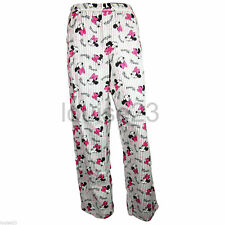 Ladies Minnie Mouse Winceyette Pyjama Bottoms 100% Brushed Cotton Sizes 8-22