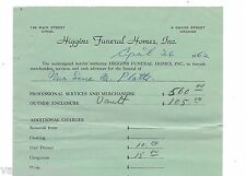 Higgins Funeral Homes 1962 Detailed Bill For Services