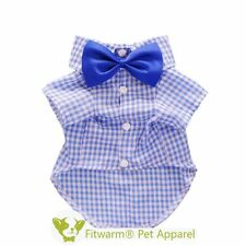 "Fitwarm 13""Chest Blue Plaid Pet Shirt Small for Dog Clothes Polo + Wedding Bow"