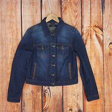 Cropped Denim Jean Jacket Womens Sz Medium Cotton Metal Buttons Blue Liquid X