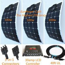 Semi-Flexible Bendable Lightweight 300w 300 Watt Solar Panel Kit 12v Battery Cnd