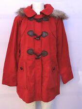 RED FAUX FUR  MILITARY COAT, WOMAN COAT (NWT / SZ 1XLARGE)