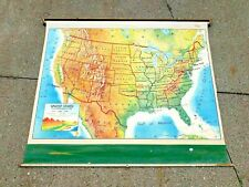 RARE ! Vintage Rand McNally  Pull Down School Map of United States of America