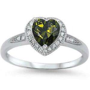 Halo Style Heart Cut Peridot Promise Ring .925 Sterling Silver